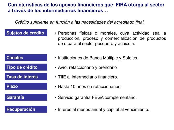 Características de los apoyos financieros que  FIRA otorga al sector a través de los intermediarios financieros…