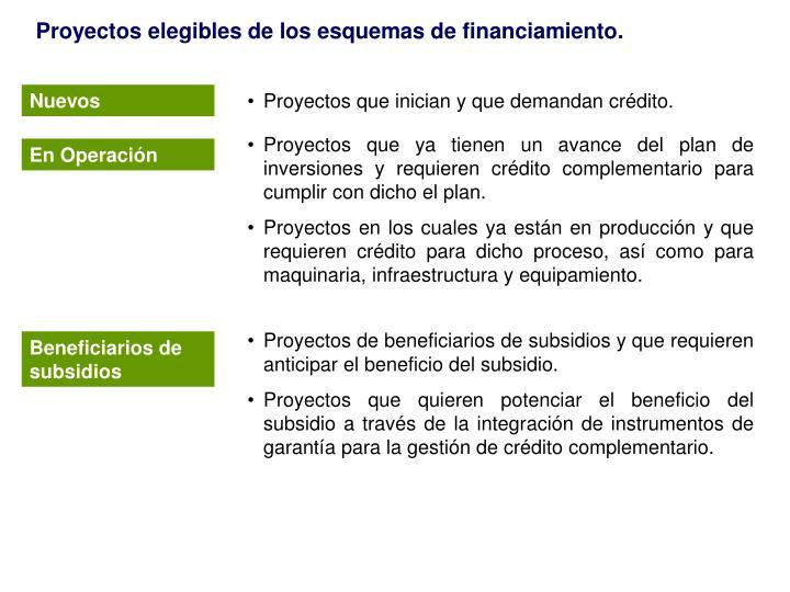 Proyectos elegibles de los esquemas de financiamiento.