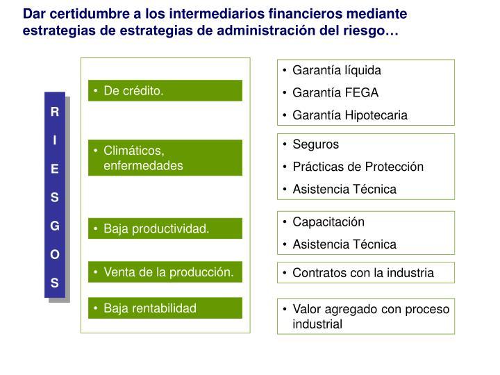 Dar certidumbre a los intermediarios financieros mediante estrategias de estrategias de administración del riesgo…