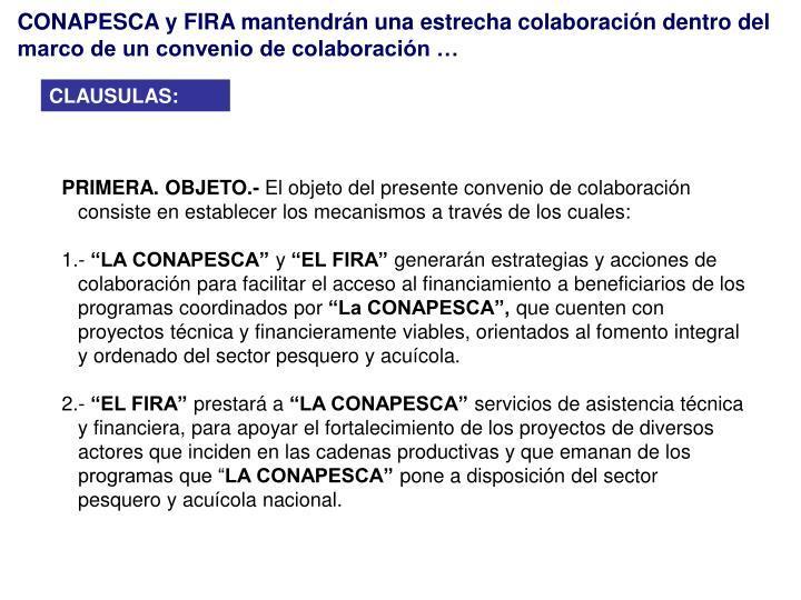 CONAPESCA y FIRA mantendrán una estrecha colaboración dentro del marco de un convenio de colaboración …