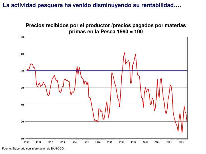 La actividad pesquera ha venido disminuyendo su rentabilidad….
