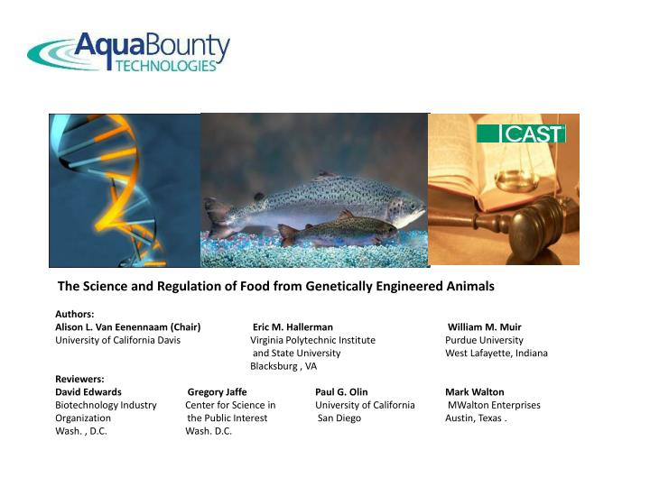 The Science and Regulation of Food from Genetically Engineered Animals