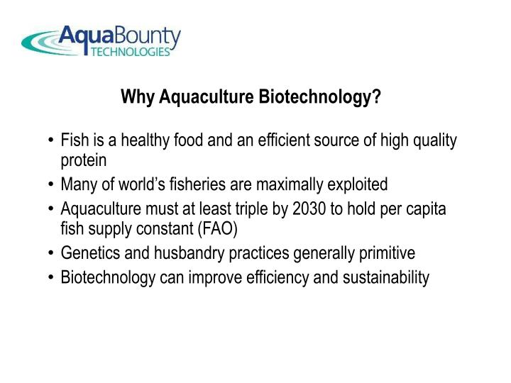 Why Aquaculture Biotechnology?