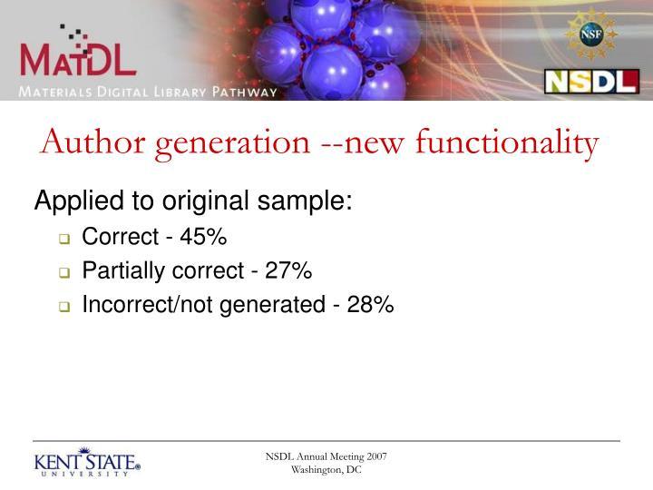Author generation --new functionality