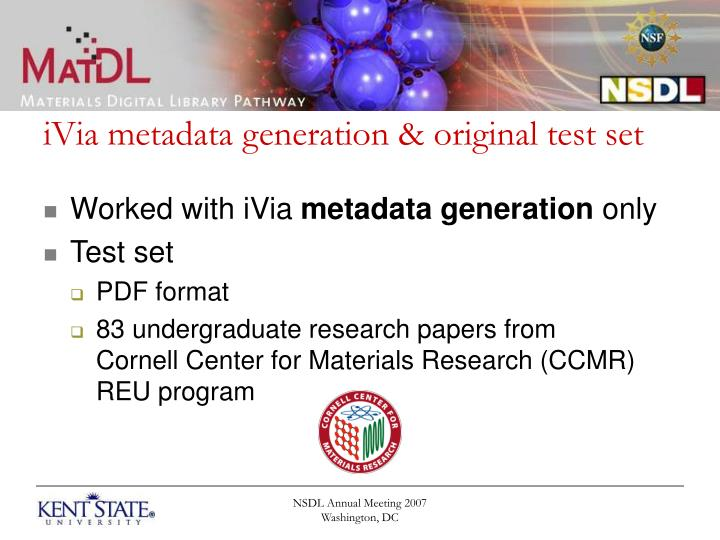 iVia metadata generation & original test set