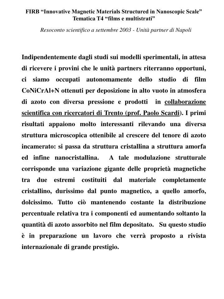 Resoconto scientifico a settembre 2003