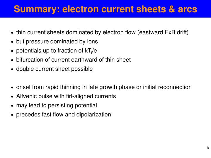 Summary: electron current sheets & arcs