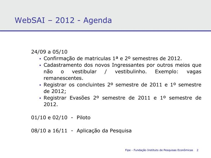 WebSAI – 2012 - Agenda