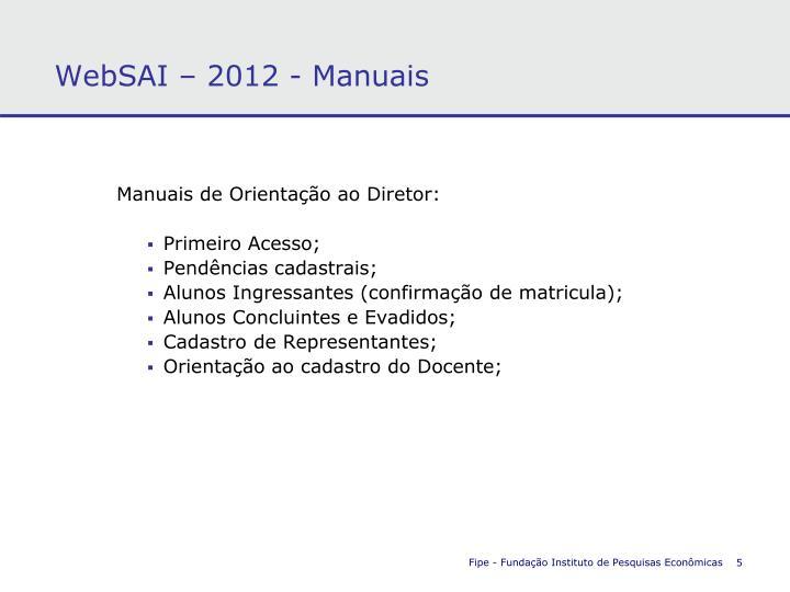 WebSAI – 2012 - Manuais