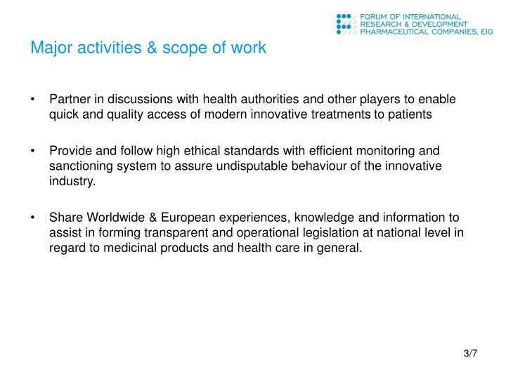 Major activities & scope of work