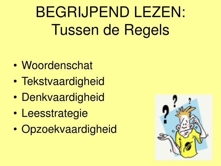 BEGRIJPEND LEZEN: