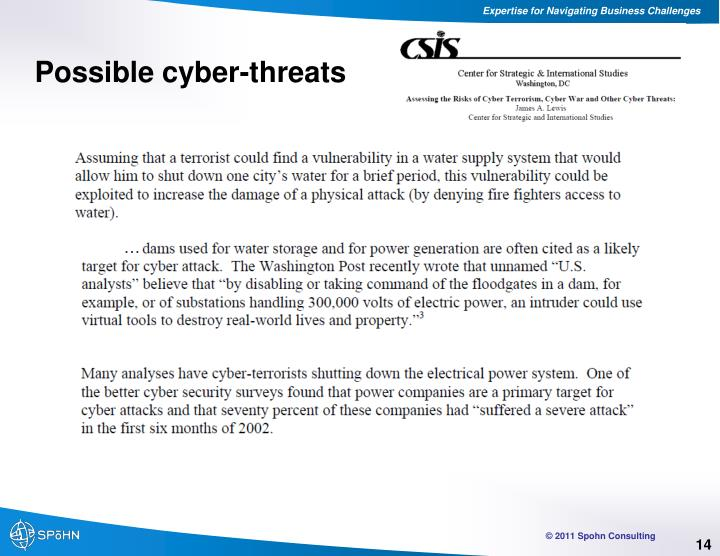 Possible cyber-threats