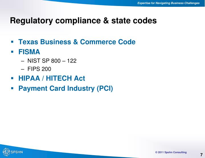 Regulatory compliance & state codes