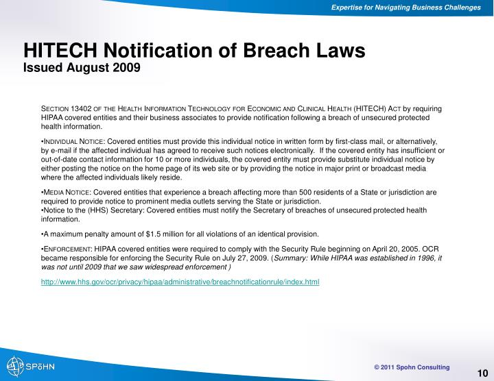 HITECH Notification of Breach Laws