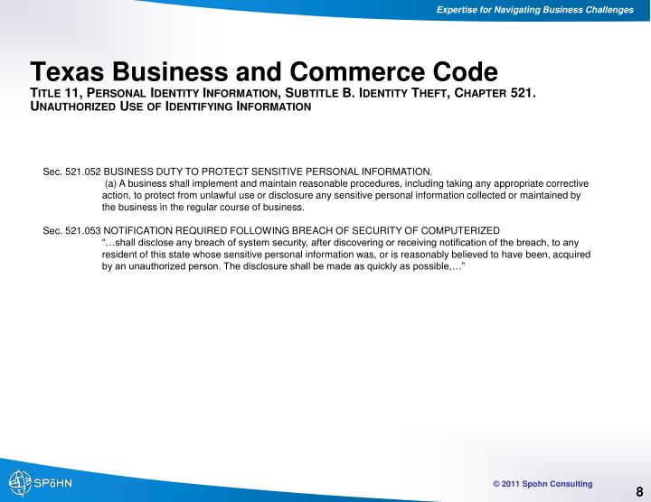 Texas Business and Commerce Code