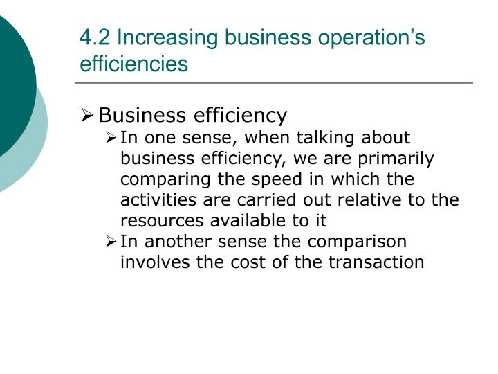 4.2 Increasing business operation's efficiencies