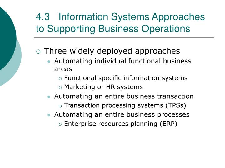 4.3Information Systems Approaches to Supporting Business Operations