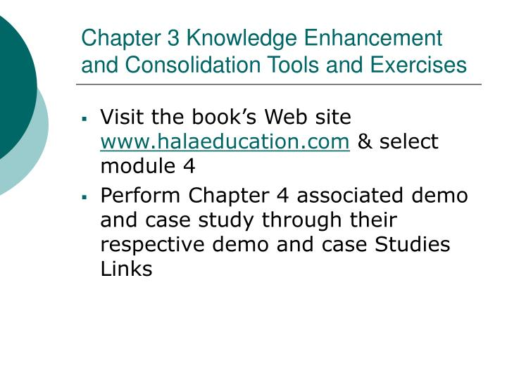Chapter 3 Knowledge Enhancement and Consolidation Tools and Exercises