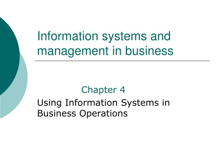 Information systems and management in business