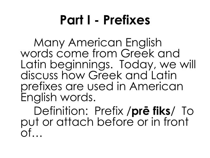 Part I - Prefixes