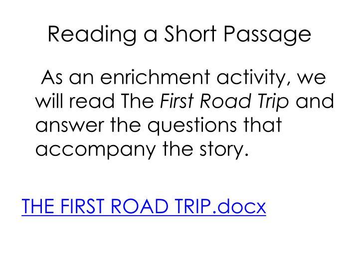 Reading a Short Passage