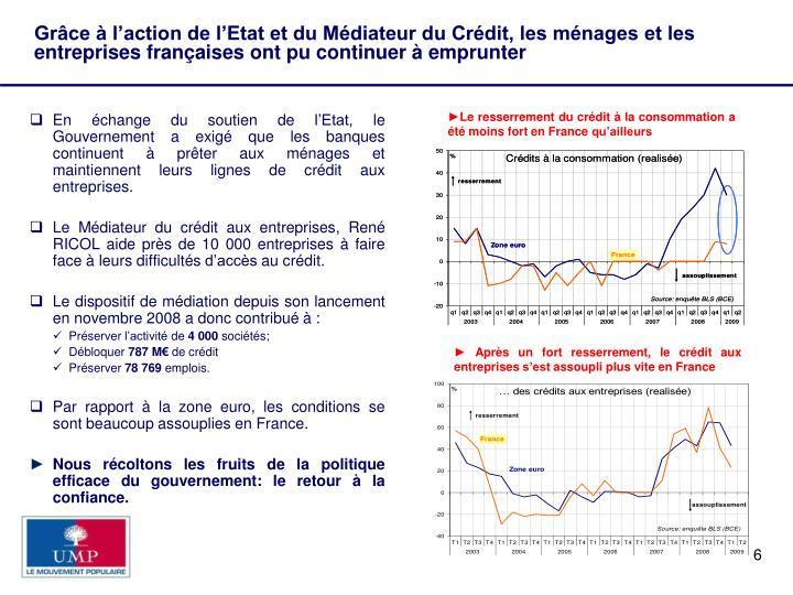 Grâce à l'action de l'Etat et du Médiateur du Crédit, les ménages et les entreprises françaises ont pu continuer à emprunter