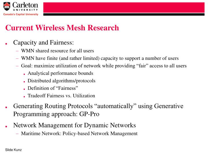 Current Wireless Mesh Research