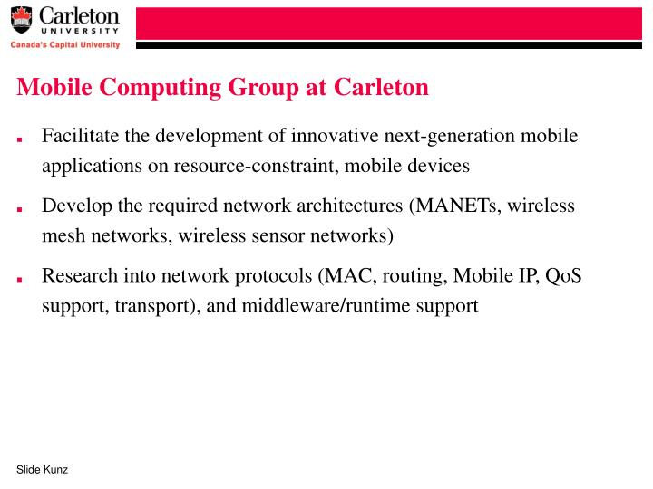 Mobile computing group at carleton