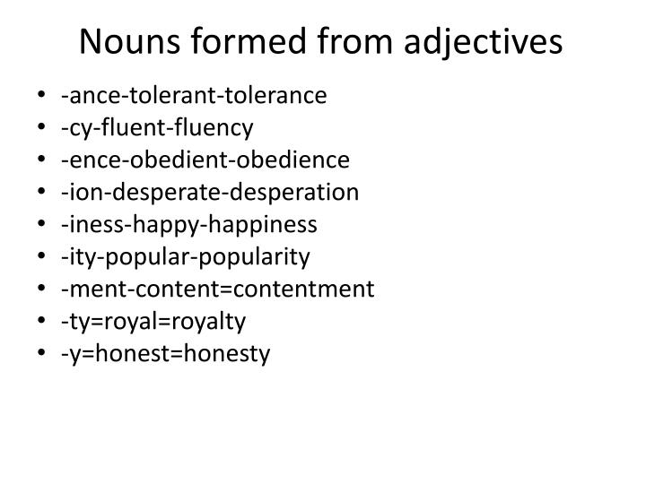 Nouns formed from adjectives