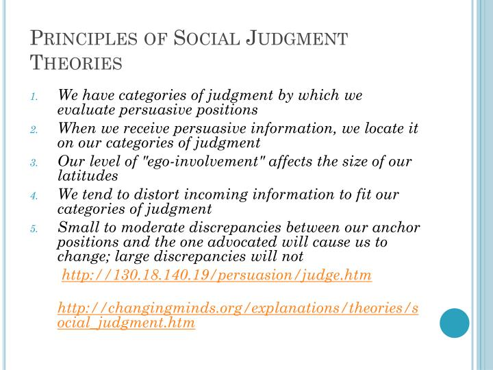 Principles of Social Judgment Theories