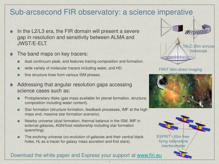 Sub arcsecond fir observatory a science imperative