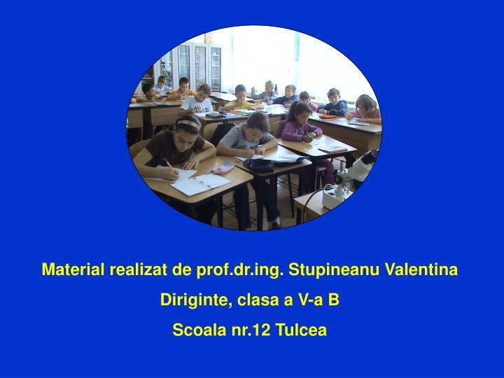 Material realizat de prof.dr.ing. Stupineanu Valentina