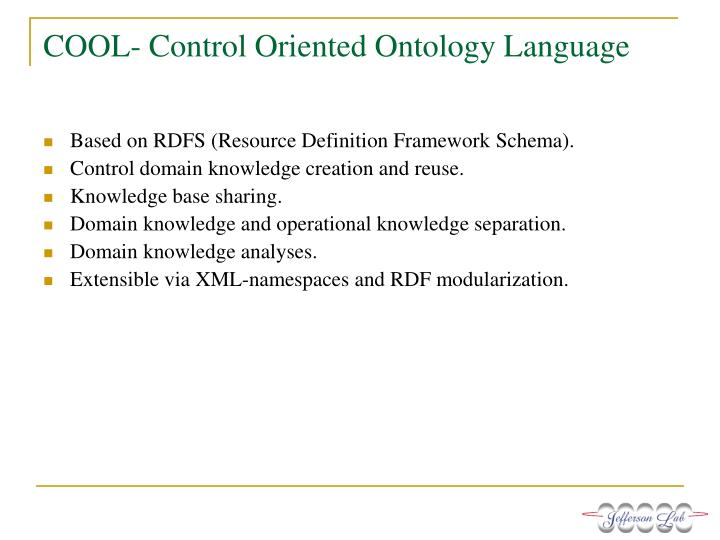 COOL- Control Oriented Ontology Language