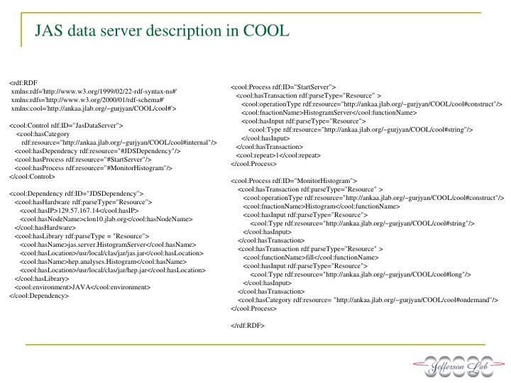 JAS data server description in COOL
