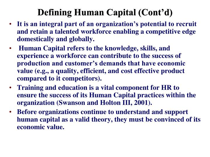 Defining Human Capital (Cont'd)