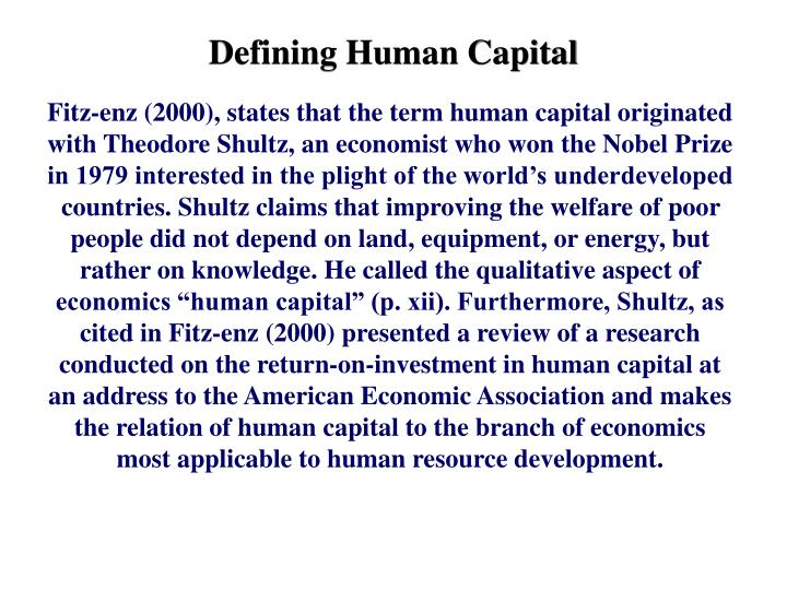 Defining Human Capital