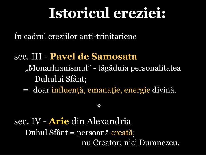 Istoricul ereziei: