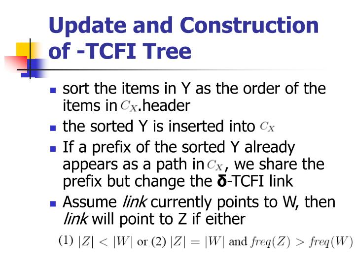 Update and Construction of -TCFI Tree