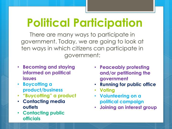 the role of citizen political participation Essay the role of citizen political participation in hong kong and singapore both hong kong and singapore are city states that traditionally have lacked broad political participation, instead political decisions.
