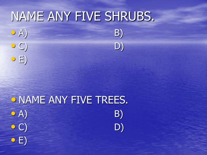 NAME ANY FIVE SHRUBS.