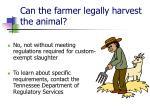 can the farmer legally harvest the animal
