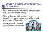direct marketing considerations for goat meat