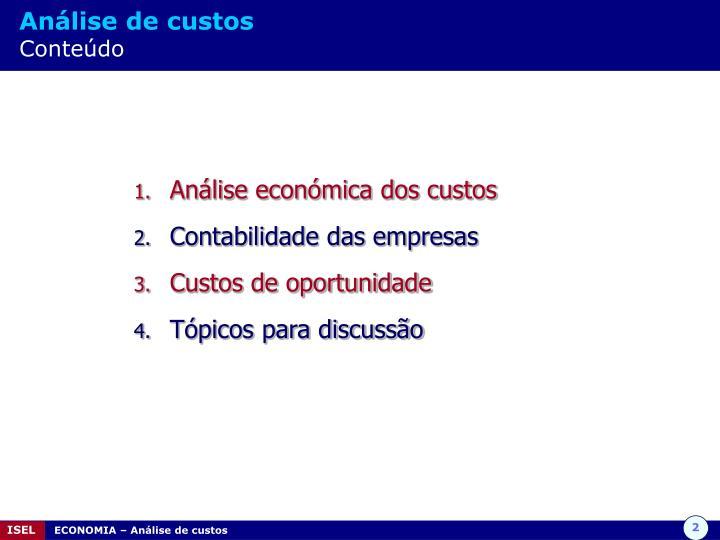 Análise de custos