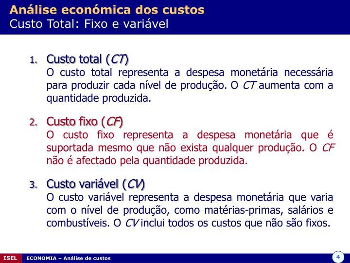 Análise económica dos custos