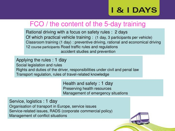 FCO / the content of the 5-day training
