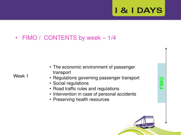 FIMO /  CONTENTS by week – 1/4