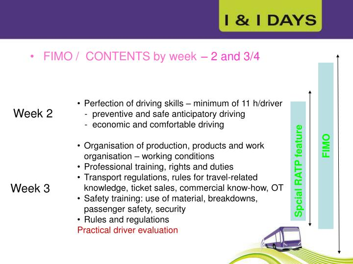 FIMO /  CONTENTS by week