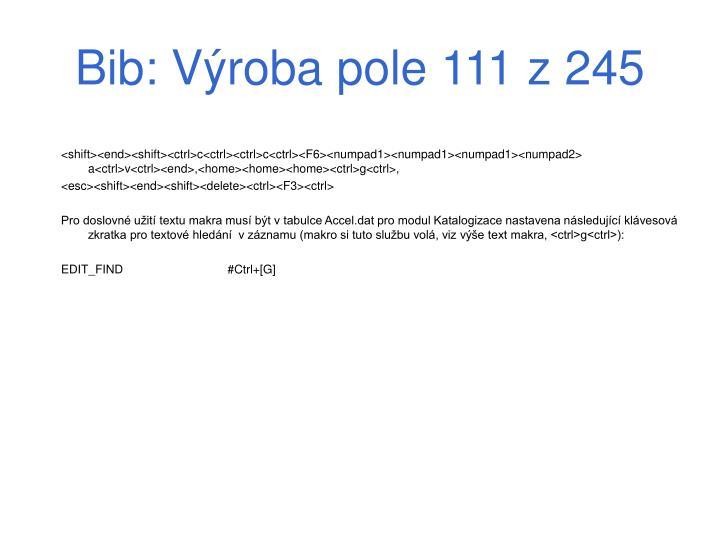 Bib: Výroba pole 111 z 245