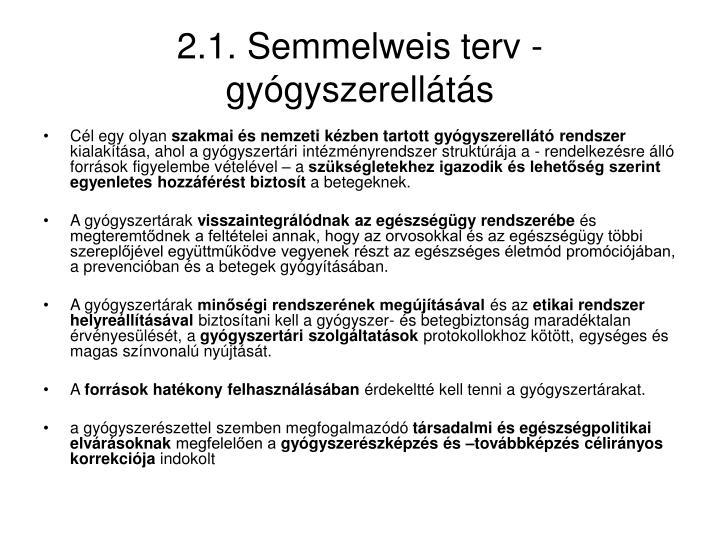 2.1. Semmelweis terv - gyógyszerellátás