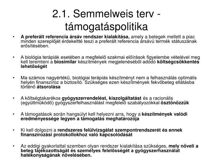 2.1. Semmelweis terv - támogatáspolitika
